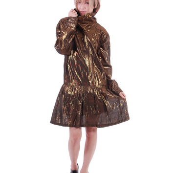 Gold Metallic Drop Waisted Dress Long Sleeved Midi Peplum Avant Garde Futuristic Super Shiny 80s 90s Vintage Clothing Womens Size Medium