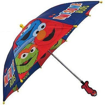 Sesame Street Elmo & Cookies Monster Awesome Buds Boys Umbrella - 3D Handle