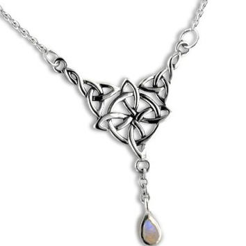 """Sterling Silver Celtic Knot Four Point North Star with Genuine Rainbow Moonstone Drop 17"""" Adjustable Necklace"""