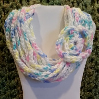 color: Donut Frosting // Teens Womens Long Scarf Necklace, Infinity Rope Scarf, Pink Turquoise Scarf, Pastel Accessory, Luxury Gift for her
