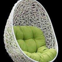 Belina - Synthetic Wicker Porch Swing Chair - Great Hammocks - Model - Y9037WHT