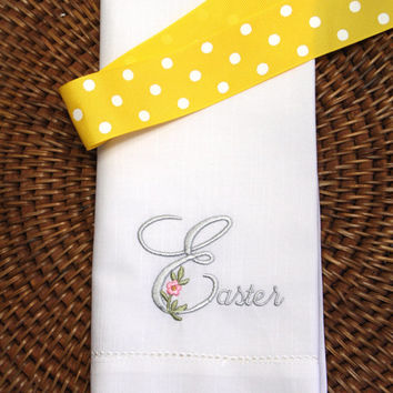 Floral Elegant Easter Embroidered Cloth Napkins /Set of 4/ Spring Napkins, Easter Napkins, Easter linens,  Easter Table, Hostess gift
