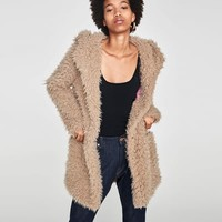 TEXTURED COAT WITH HOOD