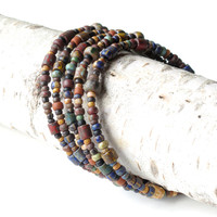 Stacked beaded bracelets - Boho earthy Picasso Czech beads wrap around 5x