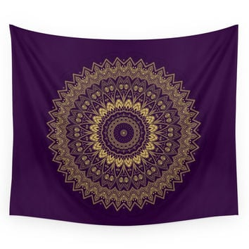 Society6 Harmony Circle Of Gold On Purple Wall Tapestry
