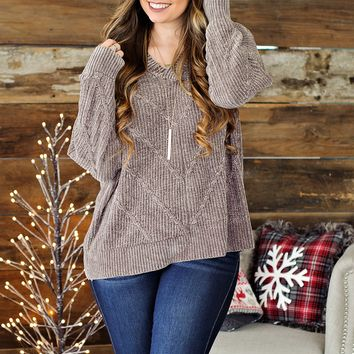* Love Me Forever Chenille Sweater: Smokey Grey