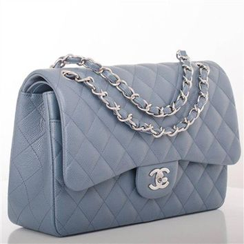 ONETOW Chanel Steel Grey Blue Quilted Caviar Leather Jumbo Double Flap Bag Full Set