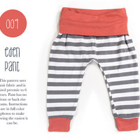 009 Eden Baggy Harem Pants PDF Sewing Pattern Kid Baby Boy or Girl Knit Fold Over Waist Rib Cuff Preemie- 6T Leggings Spit Up & Stilettos