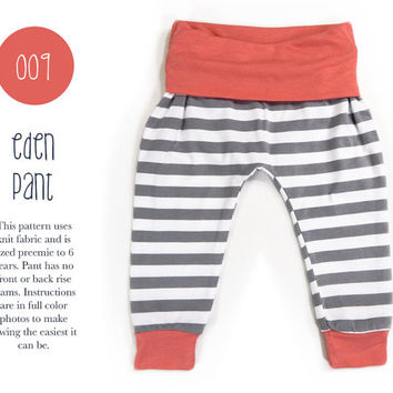 2c944b9e 009 Eden Baggy Harem Pants PDF Sewing Pattern Kid Baby Boy or Girl Knit  Fold Over Wais