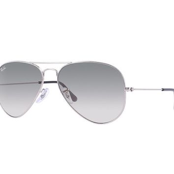 Ray Ban Aviator Sunglasses Silver Frame/Crystal Grey Gradient Lens