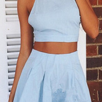 Light Blue Cross Back Halter Neck Two Piece Of Top and Short