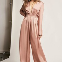 Satin Plunging Palazzo Jumpsuit