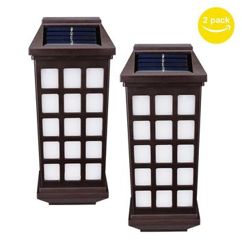 2pcs LED Solar Light Waterproof IP65 Led Wall Lamp Retro Outdoor Lights Path Roof Corridor Yard garden Lighting White Warm White