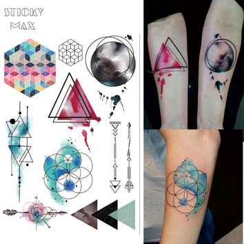W08 1 Piece Watercolor Geometric Magic  Tattoo with Triangle, Square,  Semicolon,Lock Design Body Paint Waterproof Tattoos