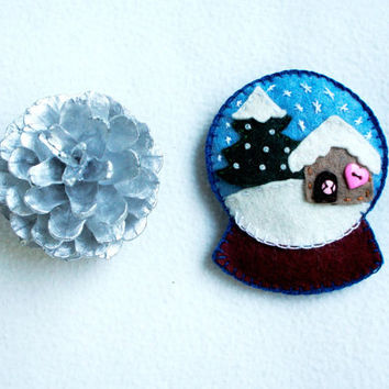 Snow globe wool felt ornaments with a little house pine and snowflakes Christmas ornament handmade gift Housewarming home decor