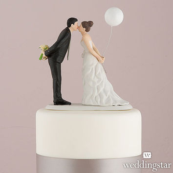 Wedding Kiss with White Balloon Cake Topper