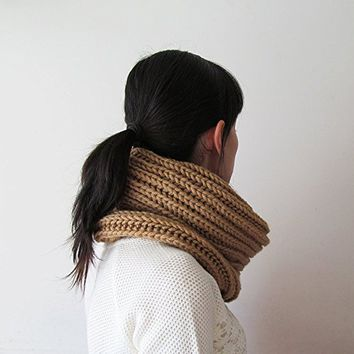 Hand Knitted Cowl in Camel - Chunky Knit Cowl - Neckwarmer - Wool Blend