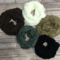 Ruffle Infinity Scarf Multiple Colors