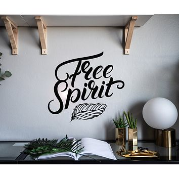 Vinyl Wall Decal Lettering Free Spirit Feather Home Decor Stickers Mural 22.5 in x 21 in gz150