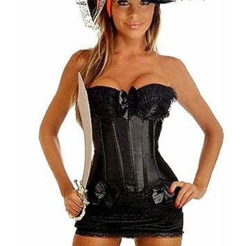 Premium Black Pin-Up Pirate Corset Costume
