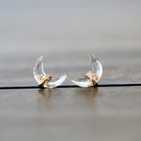 Moonbeam Studs - Crystal Quartz