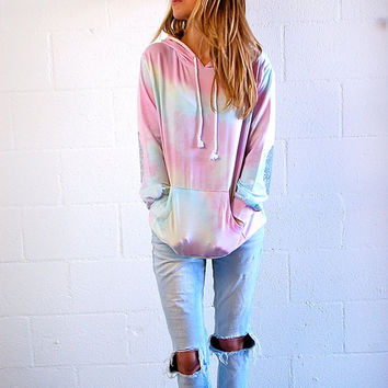 Pastel Rainbow Hoodie - Silver Elbow Patch