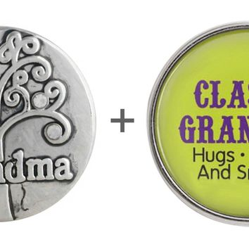 "Snap Charm Grandma Family Tree and Grandma Glass Cover 20 mm 3/4"" Diameter Fits Ginger Snaps"