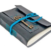 Black Faux Leather Journal with Key Bookmark