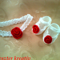Crochet Baby Infant Booties Shoes and Headband made in white with  crochet red Rose detail