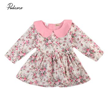Kid Infant Baby Girl Dress Princess Peter pan Collar Long Sleeve floral baby girl Dresses Toddler newborn baby girl Outfit Dress