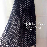 Black long skirt. Women Black Dot skirts . Summer Chiffon skirt. Skirts for Women. Plus size:xl xxl 3xl 4xl. Vintage Inspired Skirt.