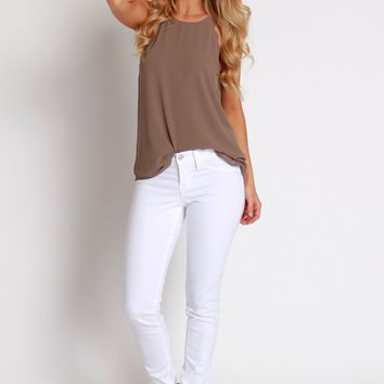 Low Rise Stretch Skinnies White