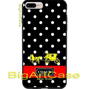 Coach Logo Black Polkadot Red Stripes PrintOn Hard Plastic Case iPhone 7, 7 plus