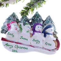 Personalized family of 4 snowmen Christmas ornament - snowmen sledding Christmas ornament personalized free
