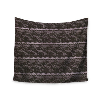 "Heidi Jennings ""Black Lace"" Gray Wall Tapestry"