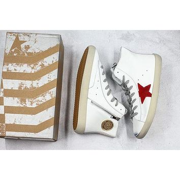 Golden Goose GGDB Francy Zip Sneakers With Red Leather Star