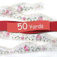 50 YARDS Ivory  Lace Trim Ribbon with Embroidered Flowers 1.1 '' for Crafts, Sewing , Accessories