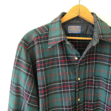 Vintage PENDLETON WOOL Authentic Sinclair Hunting Tartan FLANNEL Plaid Button Down Shirt Sz M
