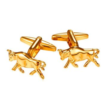 New Brand Buffalo Animal Mens Cufflinks High Quality Yellow Gold Color Metal Shirt Buttons Groom Cuff Links With Free Box C2023