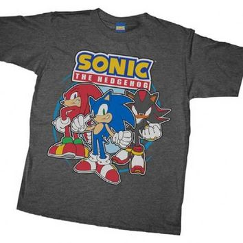Sonic the Hedgehog Sonic Posse Charcoal Heather Youth T-shirt