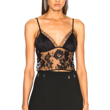 Michelle Mason Lace Crop Cami Top in Black | FWRD