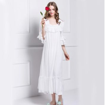 High Quality Cotton Women's Nightgowns White Lace Royal Princess Nightdress Vintage Sleepwear Large Size L140824