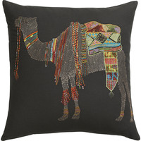 """embroidered camel 18"""" pillow"""