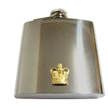 Gold Toned Large Full Crown 6 Oz. Stainless Steel Flask