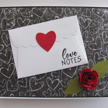 Valentines Day Card, Love Notes, Anniversary Card, Red Roses