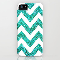 TEAL GLITTER CHEVRON iPhone & iPod Case by natalie sales