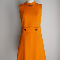 Vintage 1960s Marigold Orange Knit Jonathan Logan Mod Dress