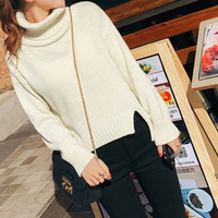 Fashion white turtleneck long-sleeved loose sweaters