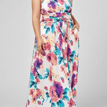 White Bohemian Floral Backless Off Shoulder Pockets Draped Plus Size Maternity Maxi Dress