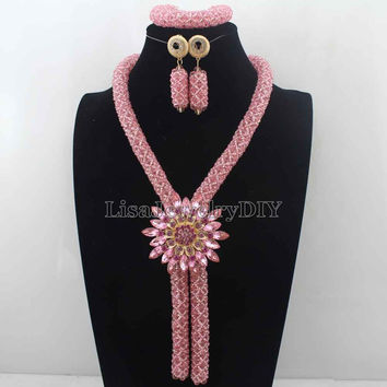 2016 Fashionable African Beads Jewelry Set Pink Costume Nigerian Wedding African Bridal Jewelry Set Free Shipping  HD7760
